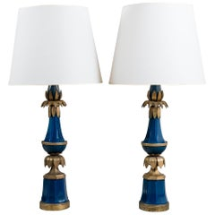 Pair of Bronze and Glass Table Lamps Maison Jansen, France, circa 1940-1950