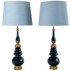 Pair of Bronze and Glass Table Lamps Attributed to Maison Jansen, France.