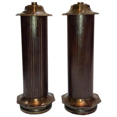 Pair of Bronze and Leather Table Lamps