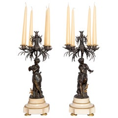 Pair of Bronze and Marble Candelabras, France, 19th Century