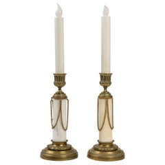Pair of Bronze and Marble Candleholders