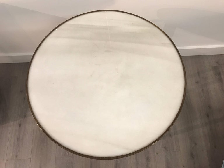 Mid-20th Century Pair of Bronze and Marble Round Neoclassical End Side Tables For Sale