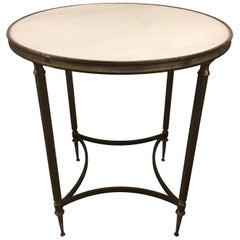 Pair of Bronze and Marble Round Neoclassical End Side Tables