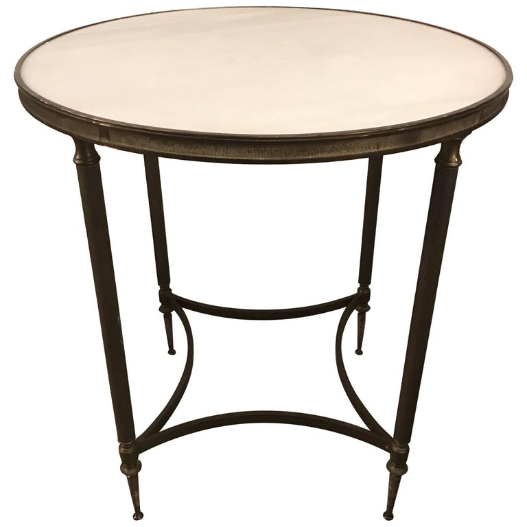 Pair of Bronze and Marble Round Neoclassical End Side Tables For Sale