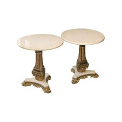 Pair of Bronze and Marble Tables
