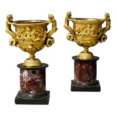 Pair of Bronze and Napoleon III Marble Cups
