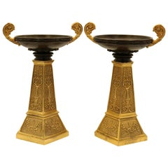 Pair of Bronze and Ormolu Tazzas of Unusual Design