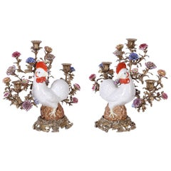 Pair of Bronze and Porcelain Chicken Candelabra