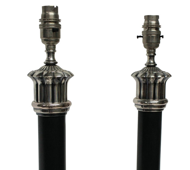 English Pair of Bronze and Silver Neoclassical Lamps