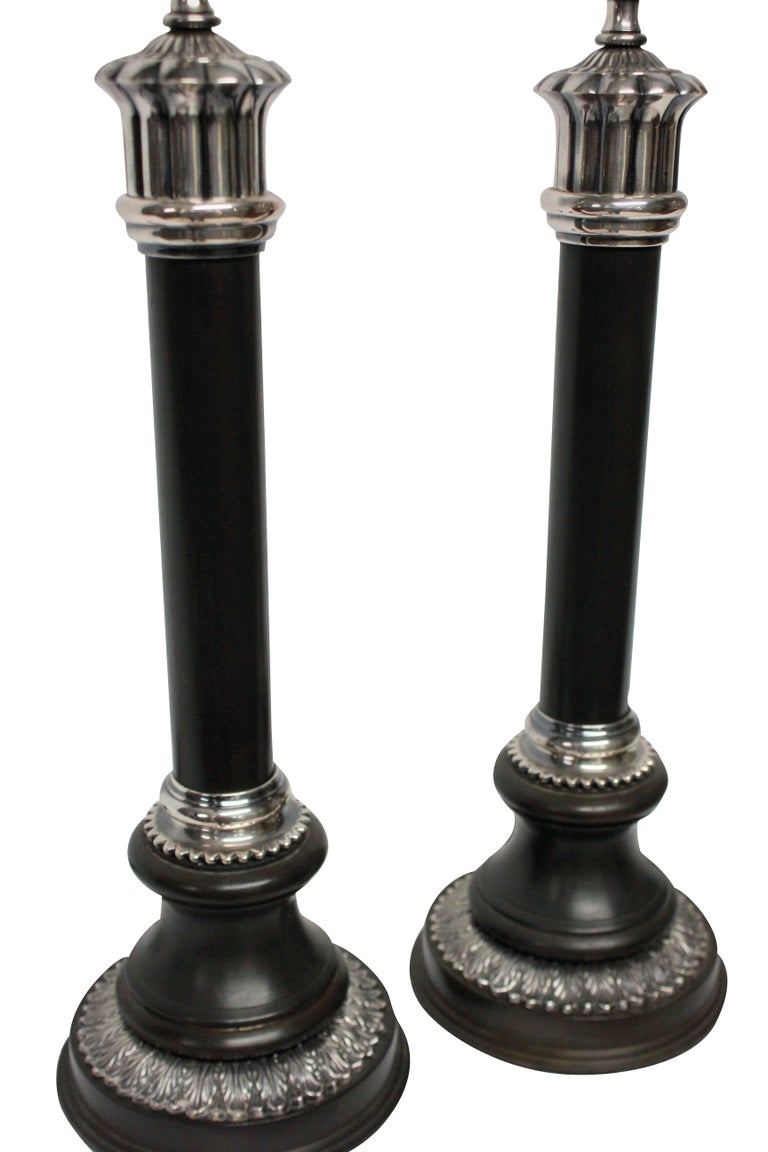 Mid-20th Century Pair of Bronze and Silver Neoclassical Lamps