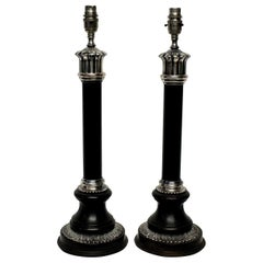 Pair of Bronze and Silver Neoclassical Lamps