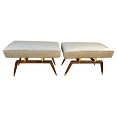Pair of Bronze and Walnut Mid Century Modern Footstools or Window Bench