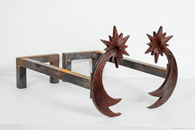 Pair of Bronze Andirons by Enzo Missoni In Excellent Condition For Sale In Paris Saint Ouen, FR