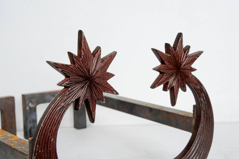 Late 20th Century Pair of Bronze Andirons by Enzo Missoni For Sale