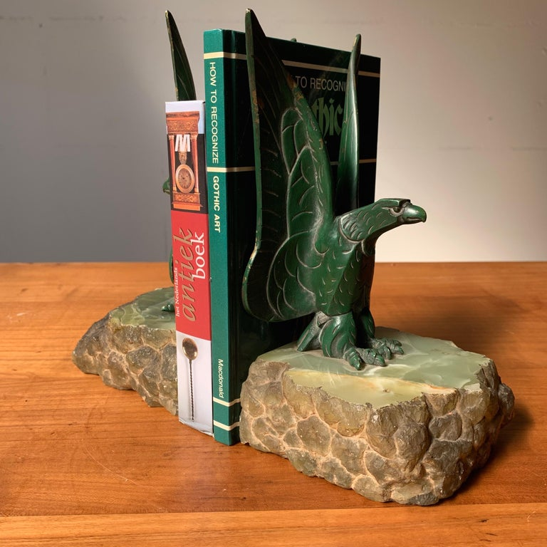 French Unique Art Deco Pair of Bronze Eagle Bookend Sculptures in Style Max Le Verrier For Sale