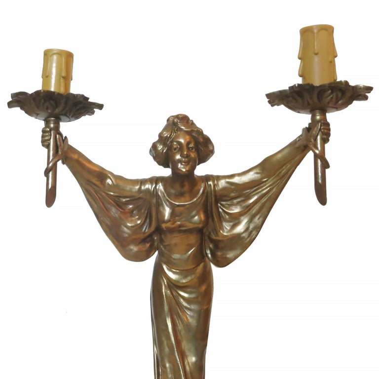 American Pair of Bronze Art Nouveau Style Figural Female Candelabra Lamp For Sale