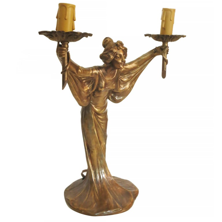 Pair of Bronze Art Nouveau Style Figural Female Candelabra Lamp In Excellent Condition For Sale In Van Nuys, CA