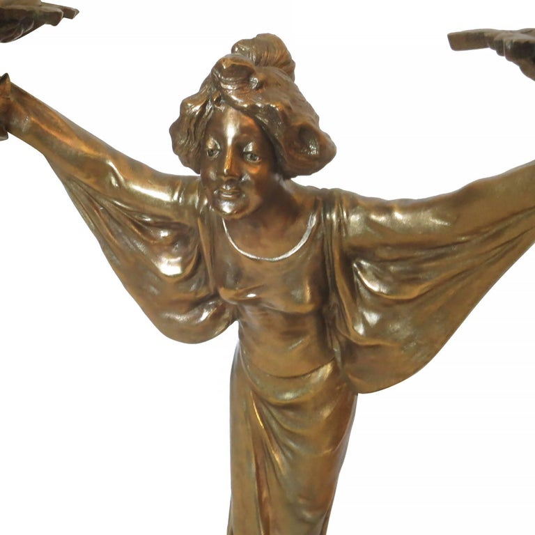 Contemporary Pair of Bronze Art Nouveau Style Figural Female Candelabra Lamp For Sale