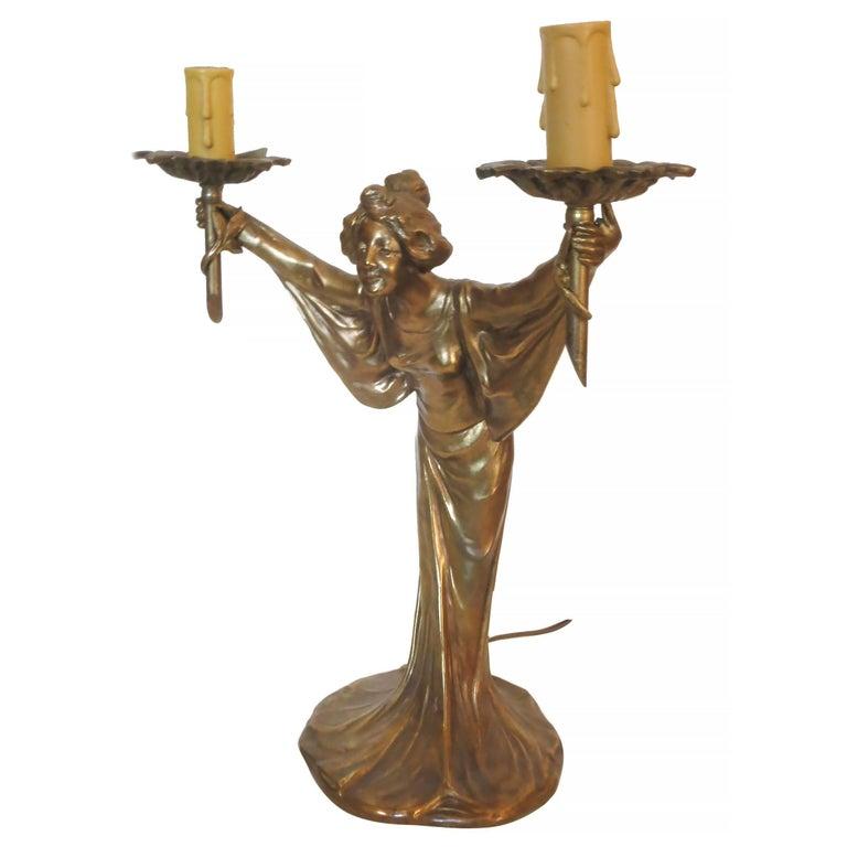 Pair of Bronze Art Nouveau Style Figural Female Candelabra Lamp For Sale 1