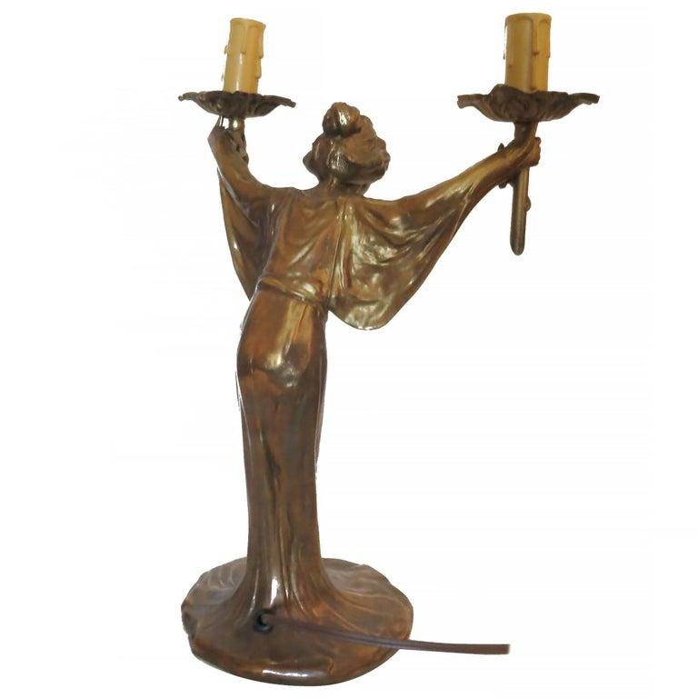 Pair of Bronze Art Nouveau Style Figural Female Candelabra Lamp For Sale 3