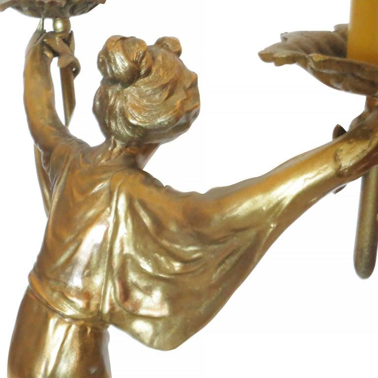 Pair of Bronze Art Nouveau Style Figural Female Candelabra Lamp For Sale 4