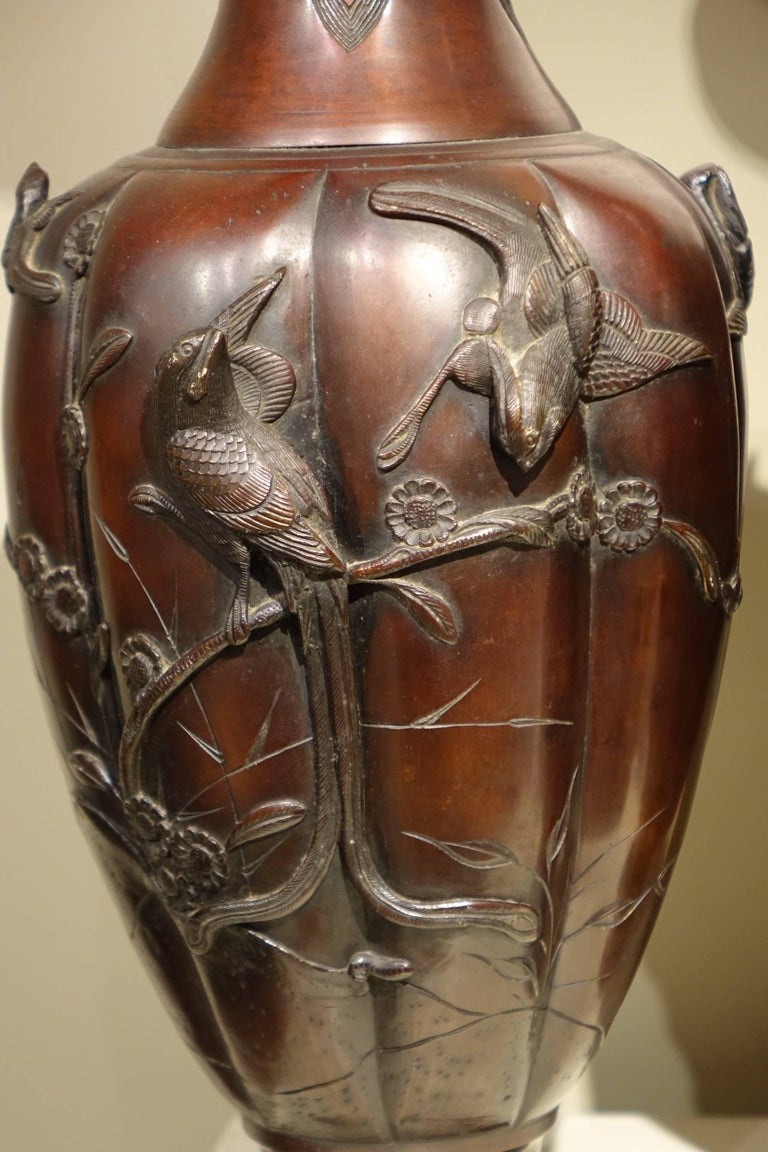 Pair Of Bronze Baluster Vases With Red Patina Japan Meiji