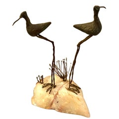 Pair of Bronze Birds Sculpture on Quartz Base by Curtis Jere, 1968