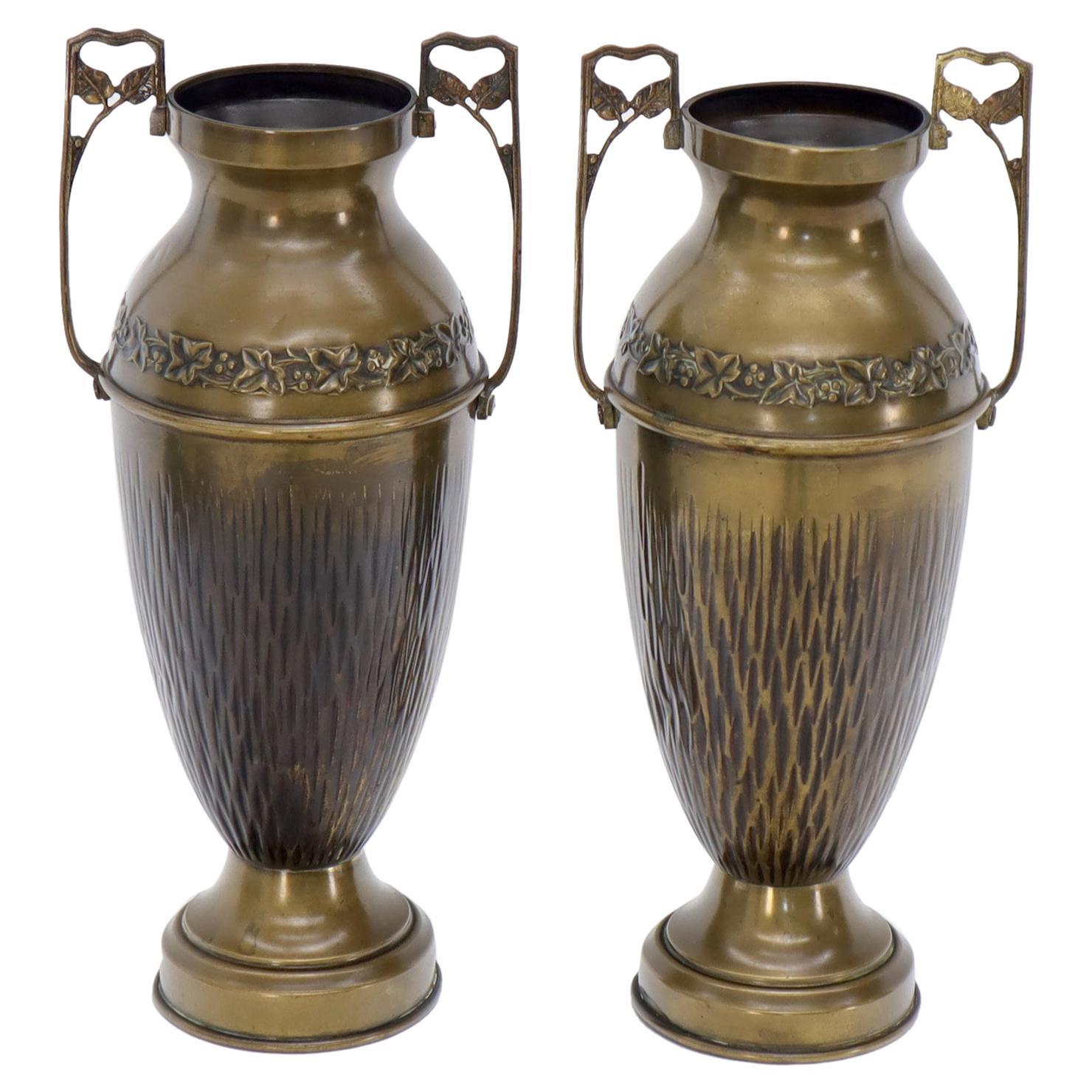 Pair of Bronze Bohemian Double Handle Urn Shape Vases