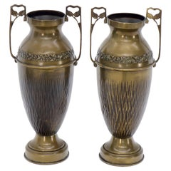 Pair of Bronze Bohemian Double Handle Urn Shape Vases