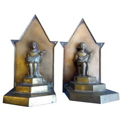 Pair of Bronze Bookends with Sitar Players