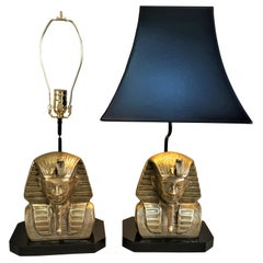 Pair of Bronze Bust of Egyptian God Table Lamps