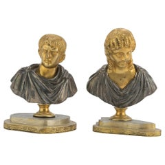 Pair of Bronze Busts by Anonymous Italian School, 19th Century