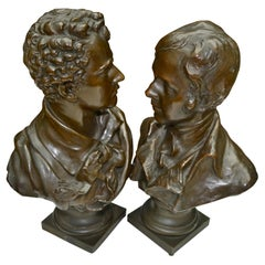 Pair of Bronze Busts of Romantic Movement Poets Lord Byron and Robbie Burns