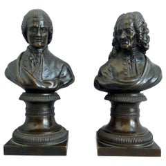 Pair of Bronze Busts of Rousseau and Voltaire