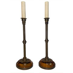 Pair of Bronze Candlestick Table Lamps
