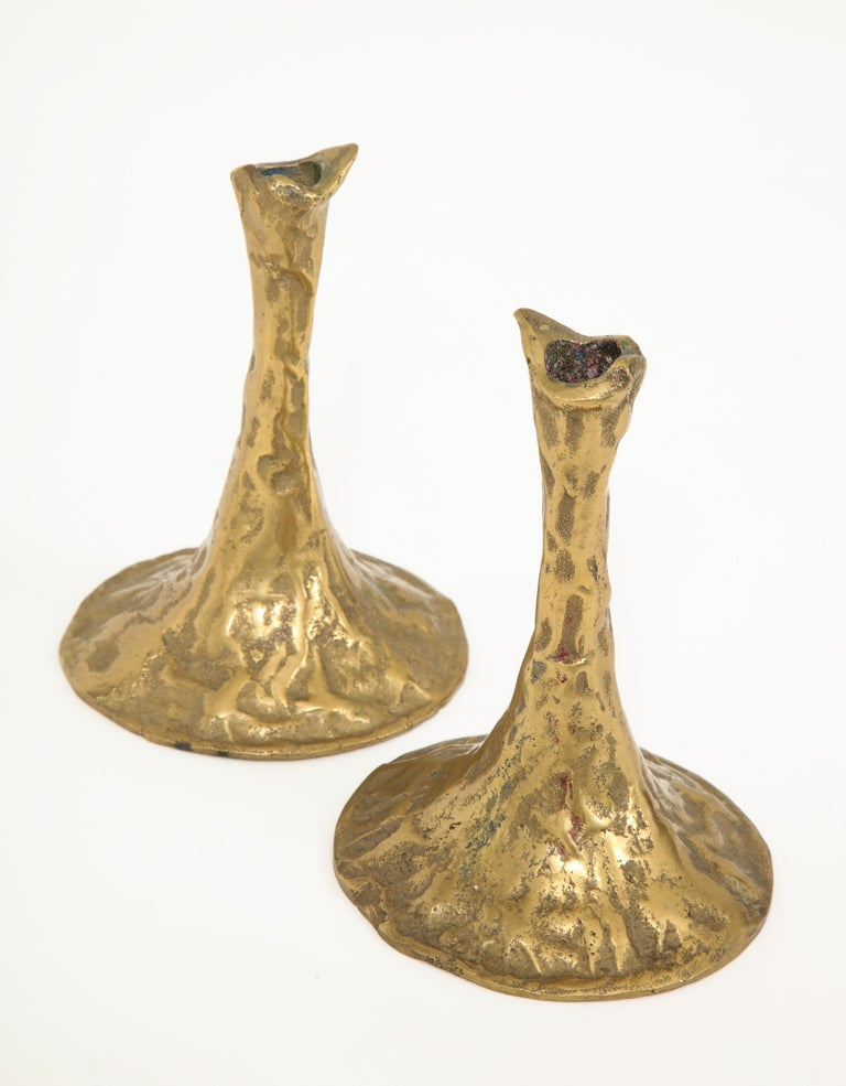 Pair of Bronze Candlesticks by Costa Coulentianos For Sale 5
