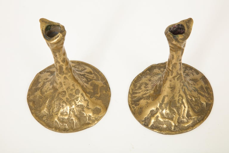 Pair of Bronze Candlesticks by Costa Coulentianos For Sale 8
