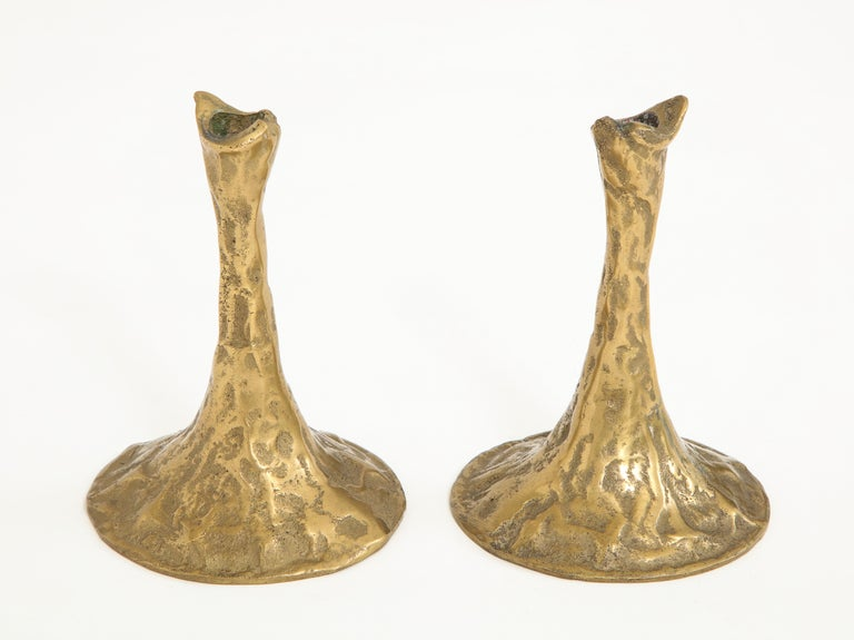 Bronze candlestick holders by Costa Coulentianos, circa 1960.