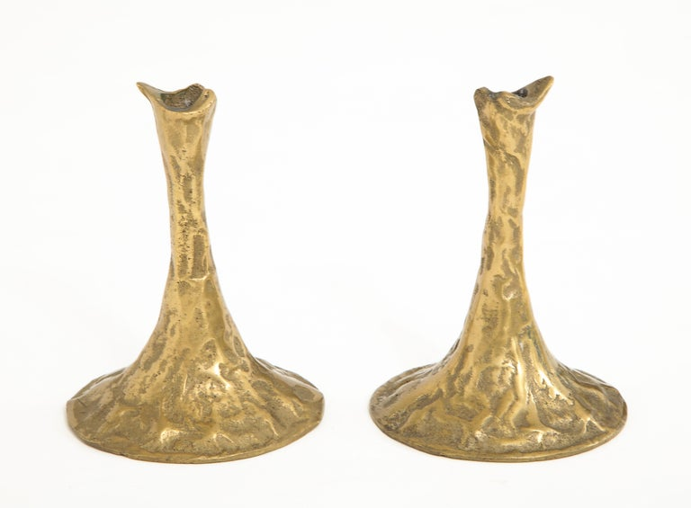 French Pair of Bronze Candlesticks by Costa Coulentianos For Sale