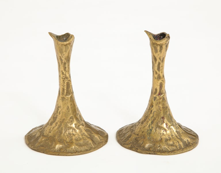 Pair of Bronze Candlesticks by Costa Coulentianos In Excellent Condition For Sale In New York City, NY