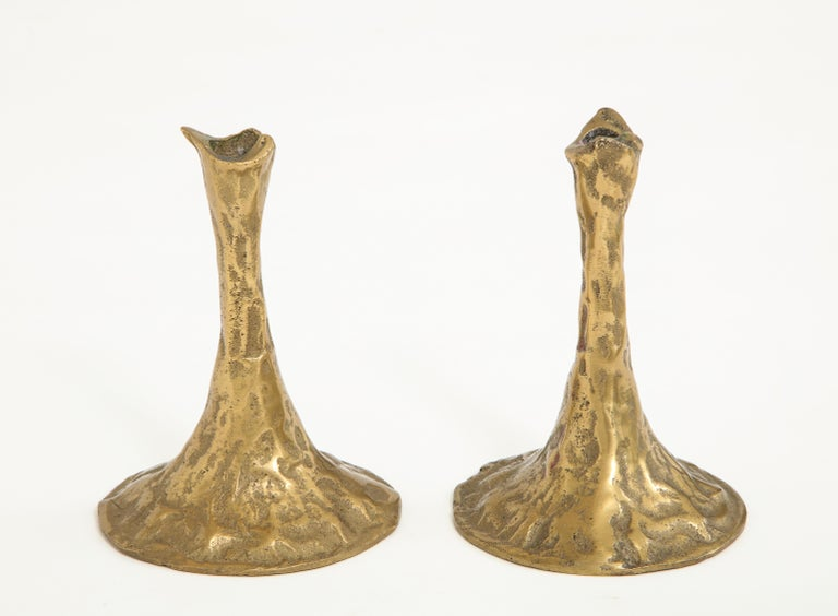 Mid-20th Century Pair of Bronze Candlesticks by Costa Coulentianos For Sale