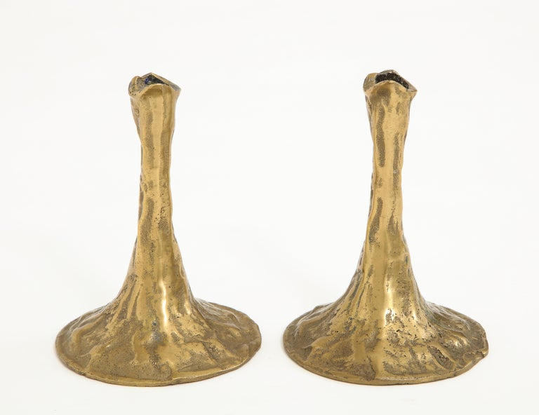 Pair of Bronze Candlesticks by Costa Coulentianos For Sale 1