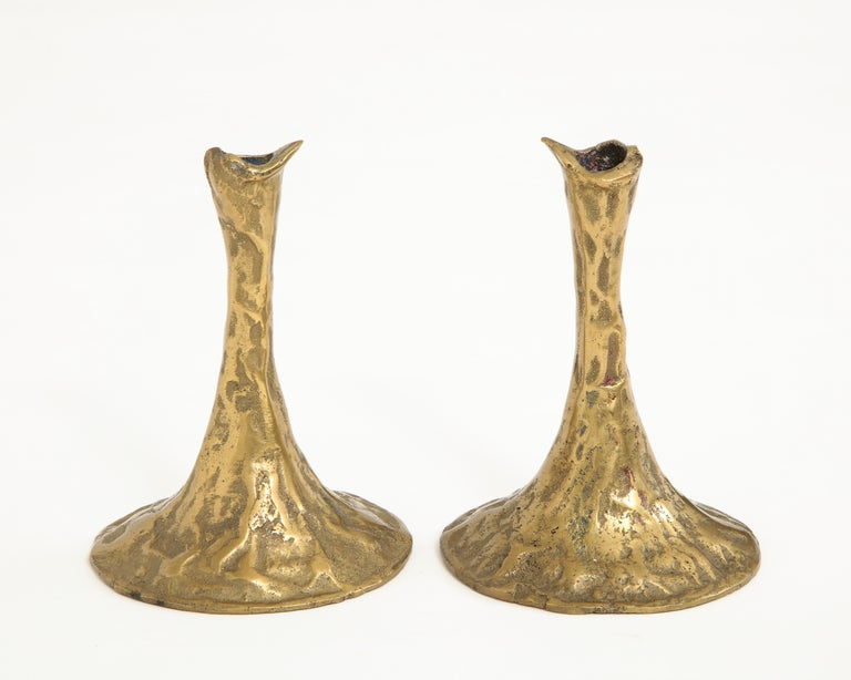 Pair of Bronze Candlesticks by Costa Coulentianos For Sale 2