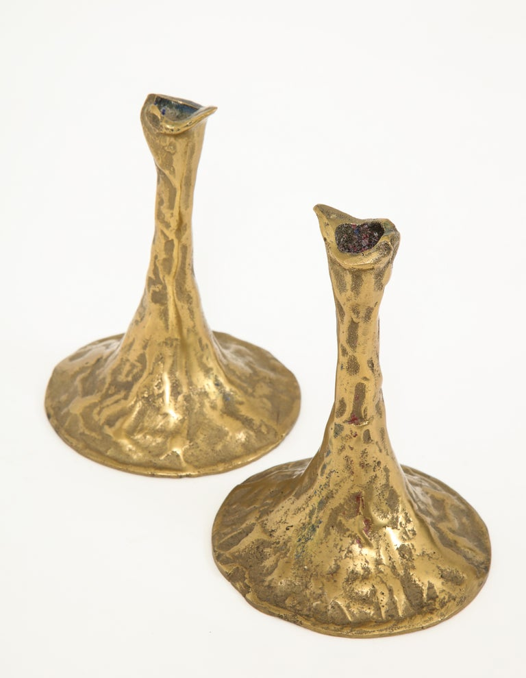 Pair of Bronze Candlesticks by Costa Coulentianos For Sale 4