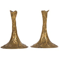 Pair of Bronze Candlesticks by Costa Coulentianos