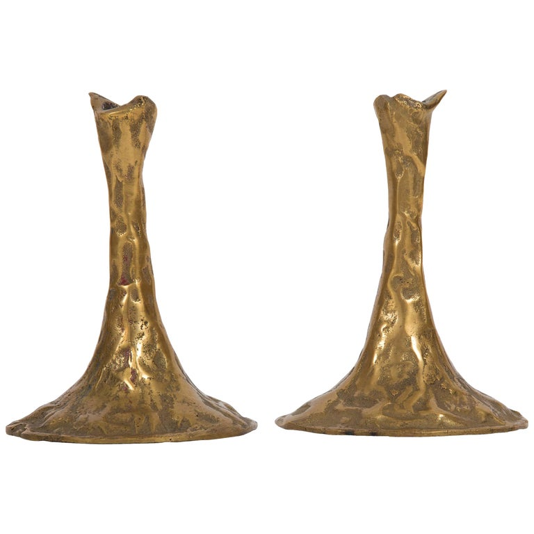 Pair of Bronze Candlesticks by Costa Coulentianos For Sale