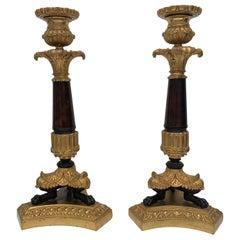 Pair of Bronze Candlesticks, Napoleon III France
