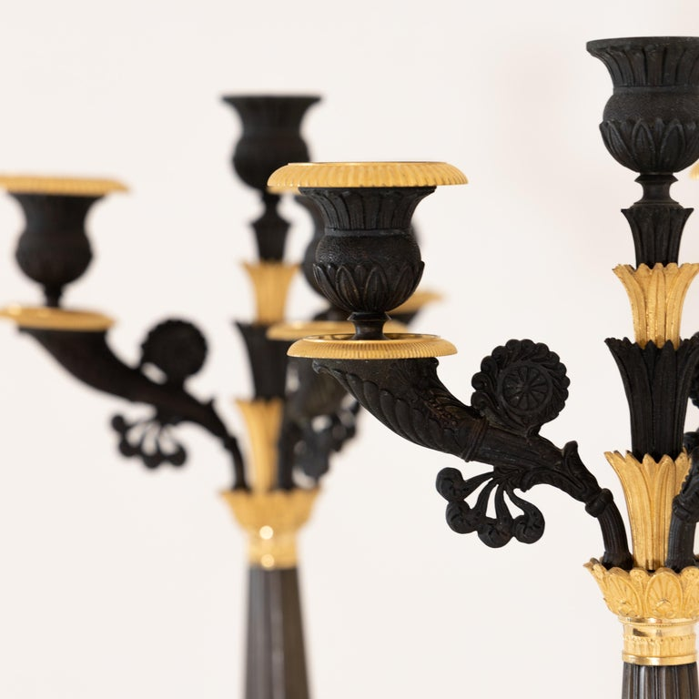 Pair of Bronze Charles X Girandoles, France, circa 1830 In Good Condition For Sale In Greding, DE