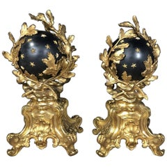 Pair of Gilt And Patinated Bronze Chenets of Monumental size