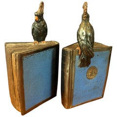 "Pair of Bronze Clad ""Atlas of the World"" Bookends by Pompeian Bronze Co."